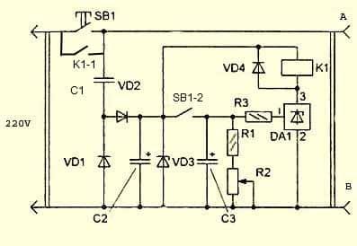 Схема розетки с аналоговым таймером