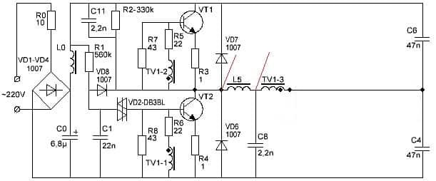 Схема с указанием места подключения дополнительного трансформатора