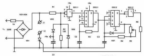 Схема регулятора температуры с использованием на триггеров