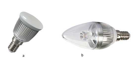 Лампа светодиодного типа: а – b – Gauss (Гаусс); b – Osram