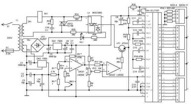 Схема станции для пайки с индикацией температуры