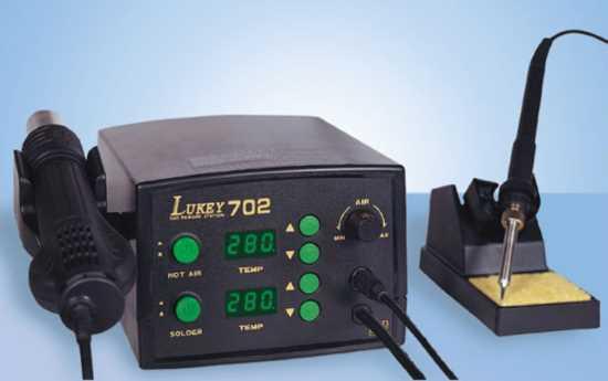 Воздушная станция для пайки Lukey 702 с феном