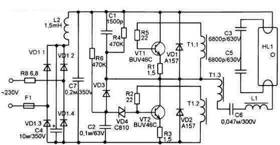 Схема балласта для компактной ЛДС Osram