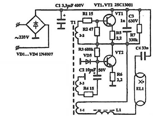 Схема простой электронной реализации баланса для ЛДС мощностью 18Вт