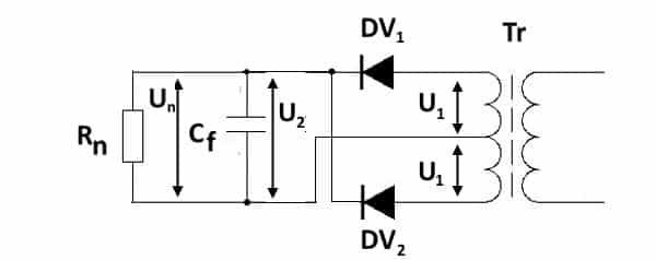 Простейший неуправляемый балансный преобразователь на двух диодах с использованием трансформатора со средним выводом
