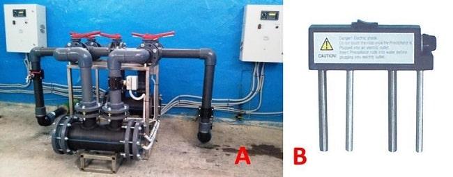 А) Установка прямого электролиза воды (УПЭВ); Б) анализатор качества воды Tesp 001