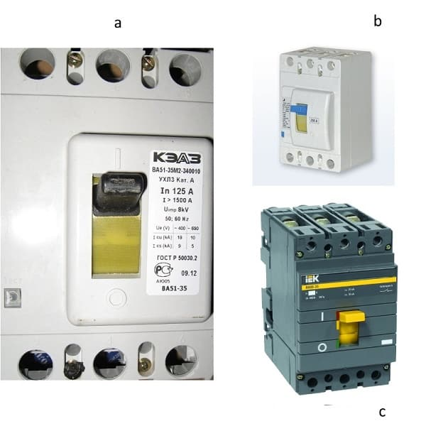 Автоматические выключатели: а) ВА51-35; b) BA57-35; c) BA88-35
