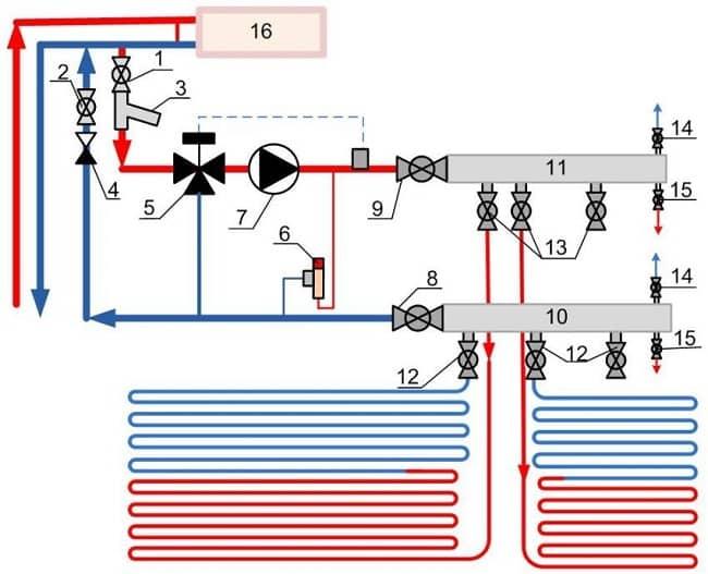 Монтажно-технологическая схема теплого пола