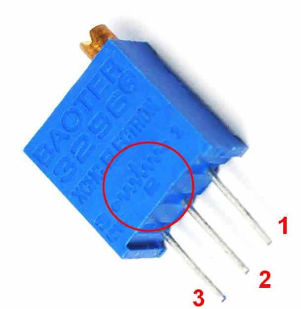 Подстроечный резистор (внутренняя схема отмечена красным кругом)