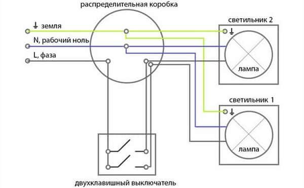 Простая схема подключения двухклавишного выключателя на две лампочки