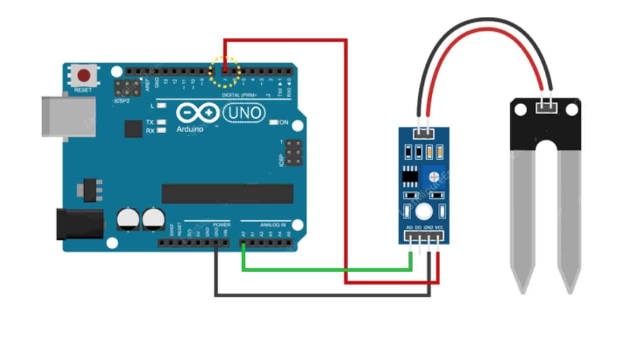 Схема подключения датчика влажности к микроконтроллеру