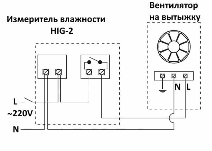 Схема подключения вентилятора к модулю контроля влажности