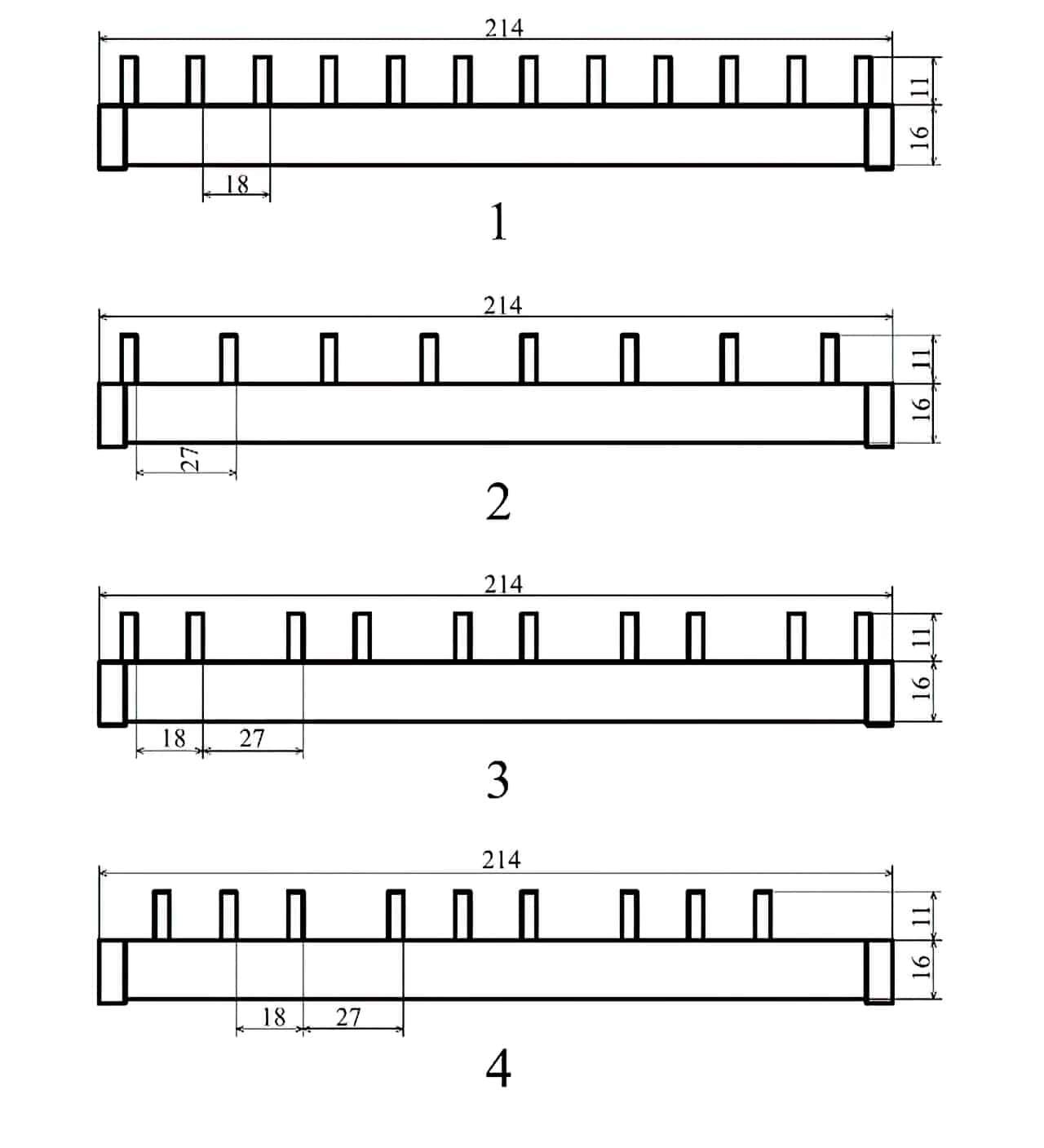 Соединительные шины для автоматических выключателей длиной 214 мм