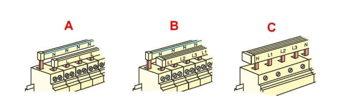 Варианты использования одно- трех- и четырехполюсных соединителей