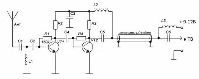 Схема антенного усилителя для ДМВ диапазона