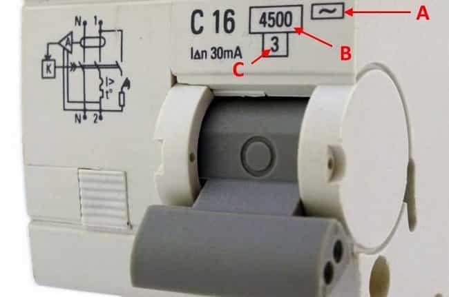 А) тип дифзащиты; В) номинальная отключающая способность; С) класс токоограничения