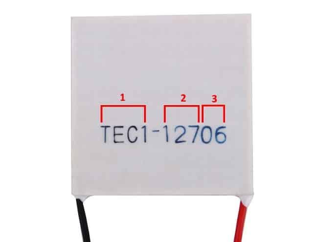 Модуль Пельтье с маркировкой ТЕС1-12706