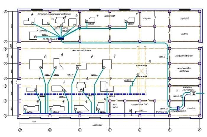 Схема ЭМ цеха с указанием мест установки электрооборудования
