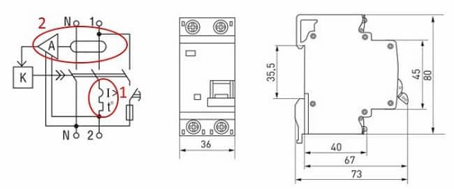 Схема устройства дифавтомата АВВ и его размеры