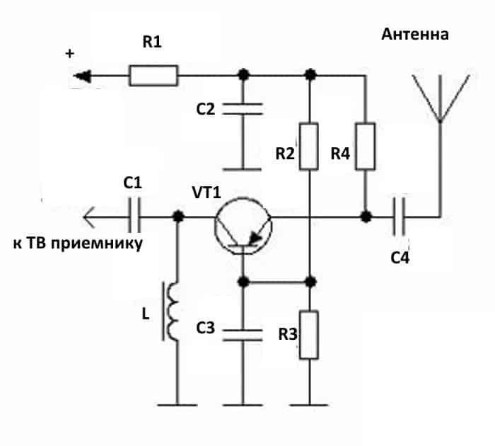 Антенный усилитель на транзисторе, включенном по принципу общей базы
