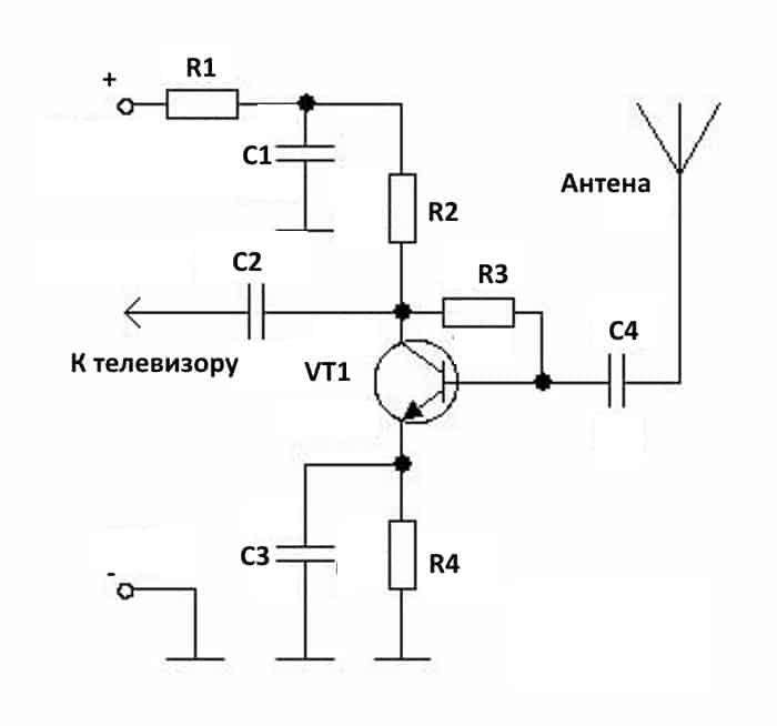 Антенный усилитель на транзисторе, включенном по принципу общего эмиттера