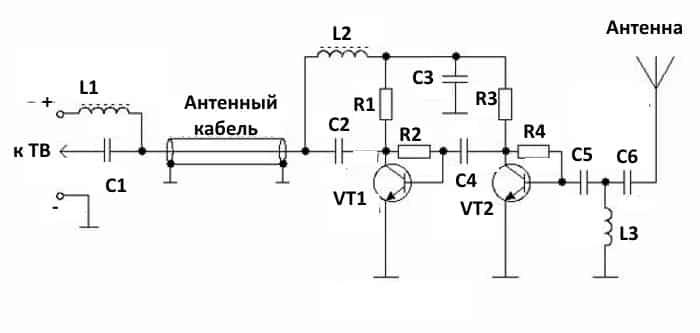 Схема двухкаскадного антенного усилителя для ДМВ каналов