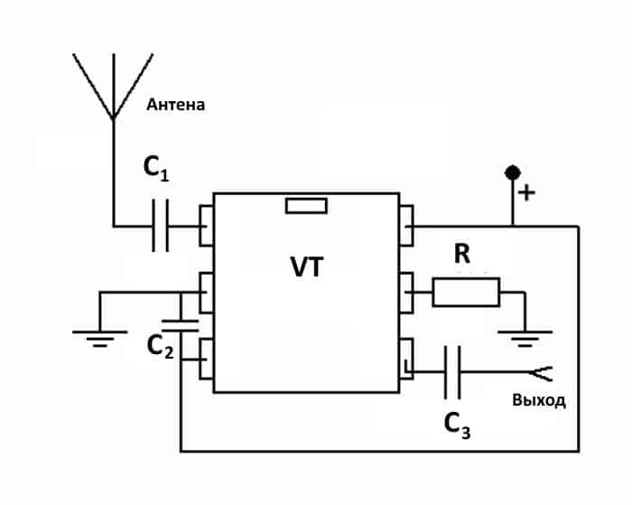 Схема простого антенного усилителя на базе МАХ2633