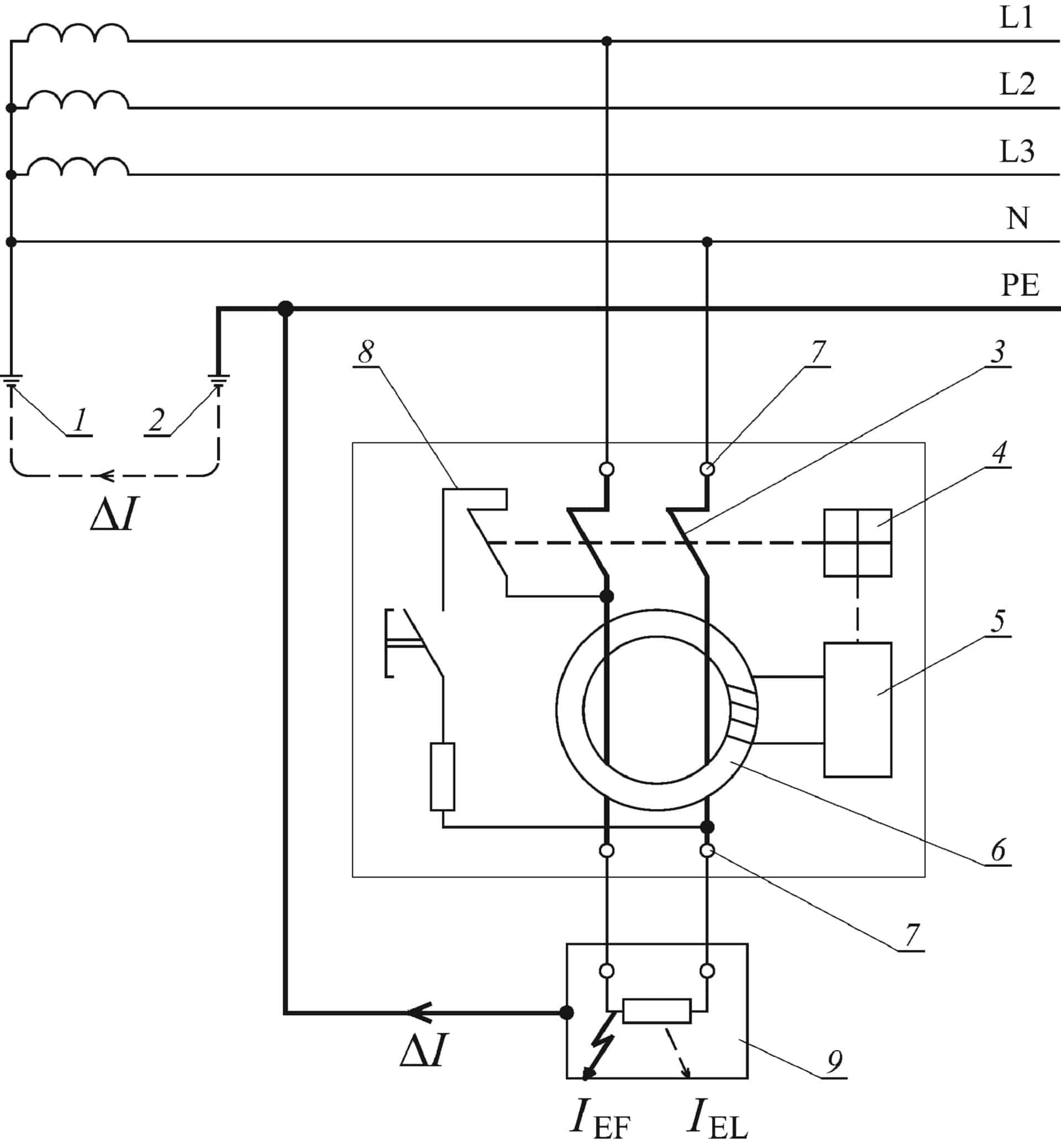 Схема устройства дифференциального тока