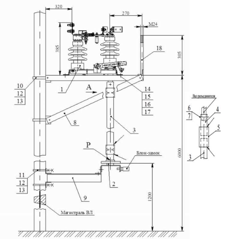 Монтажная схема установки разъединителя на опору CB-110-35