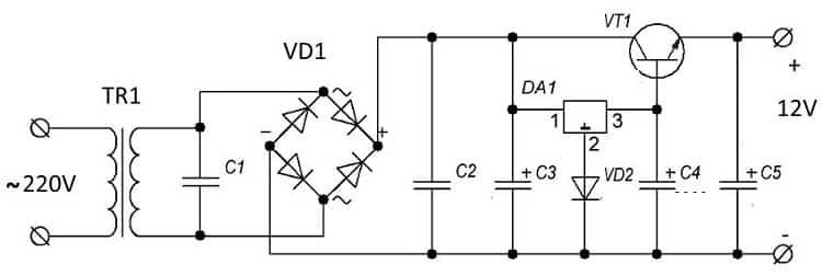 Схема блока питания для светодиодной ленты на 12 вольт