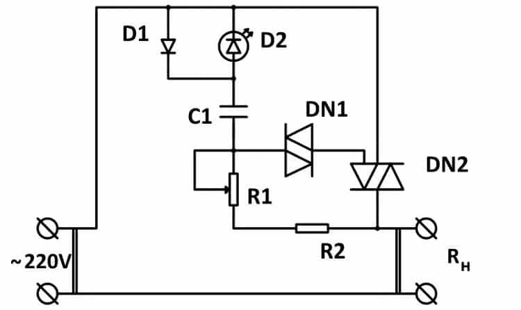 Схема простого регулятора мощности на симисторе с питанием от 220 В