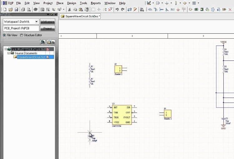 Интерфейс Designer Schematic не отличается сложностью