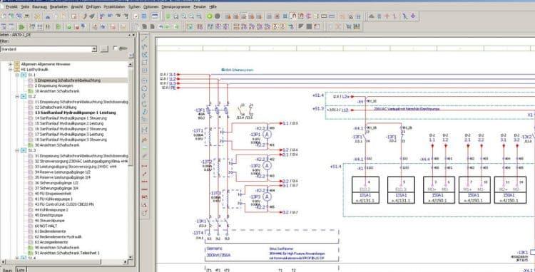 Фрагмент рабочего окна САПР Eplan Electriс Р8
