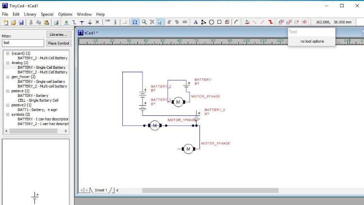 TynyCAD – простой редактор для принципиальных схем