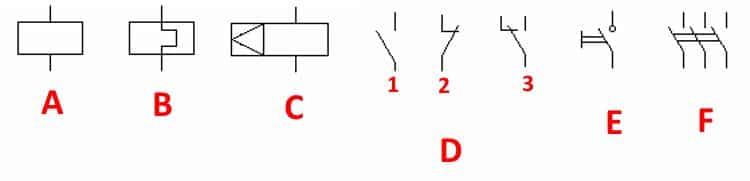 УГО, принятые для электромеханических устройств и контакторов