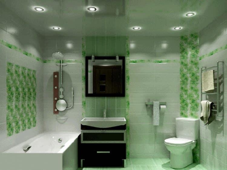 За счет цвета плитки и натяжного потолка свету придается салатный оттенок