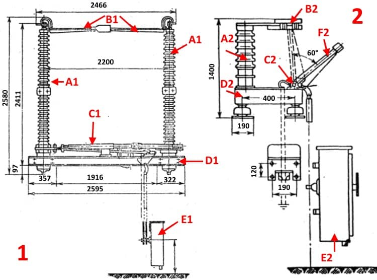 1) конструкция отделителя; 2)конструкция короткозамыкателя