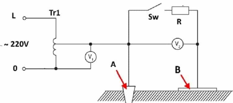 Схема для измерения напряжения прикосновения