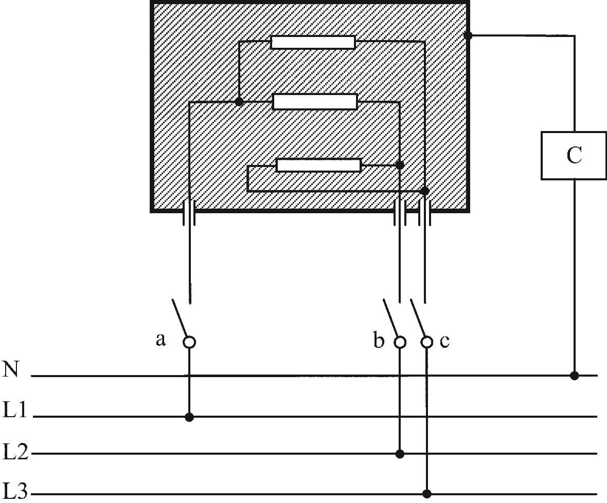 Принципиальная схема для измерения тока утечки для трехфазного присоединения приборов иных, чем класса II