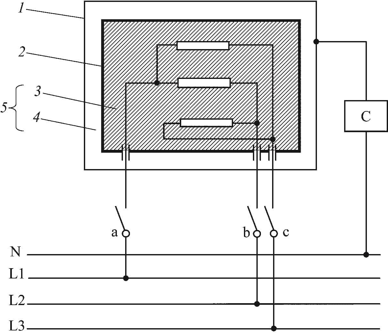 Принципиальная схема для измерения тока утечки для трехфазного присоединения приборов класса II