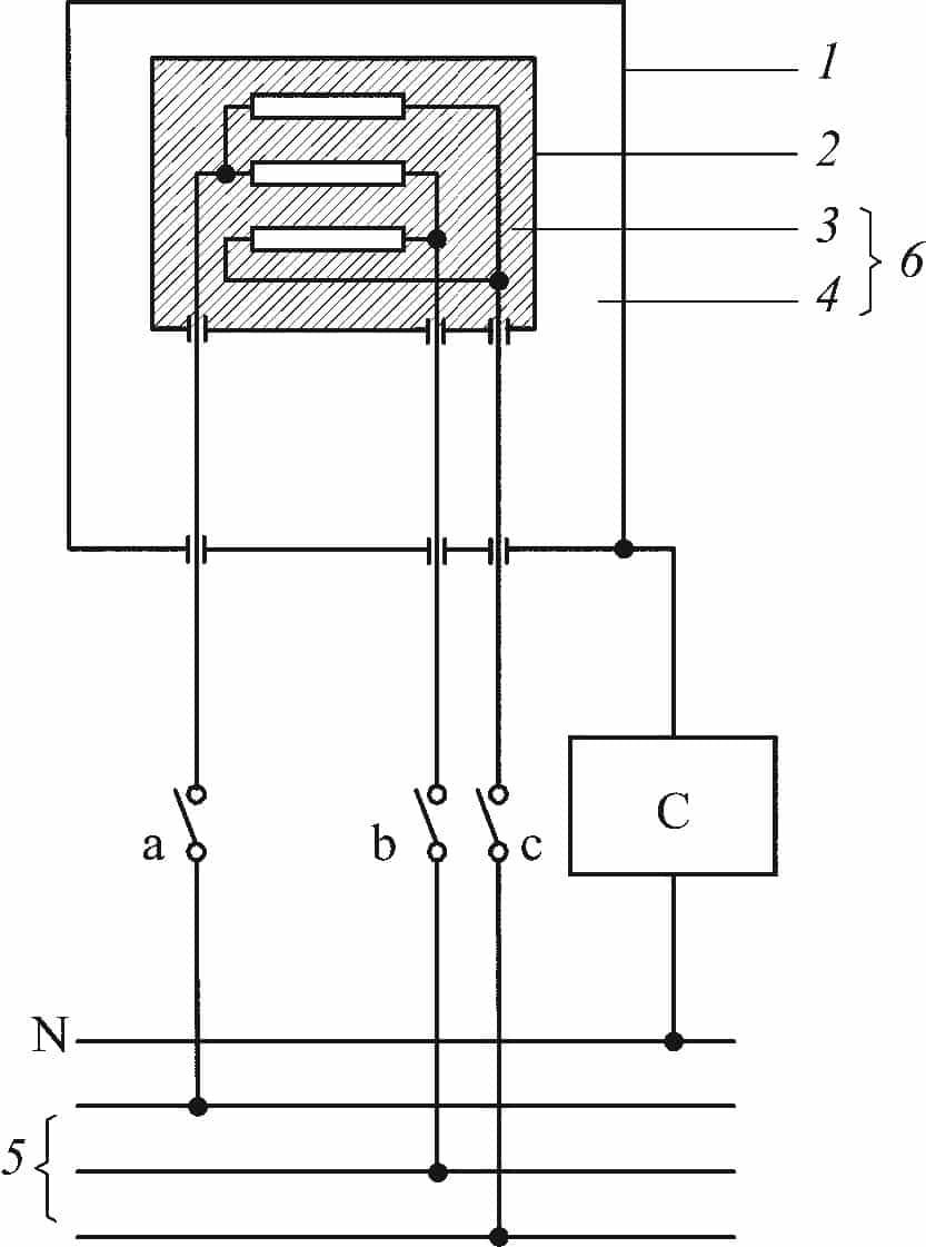 Схема для измерения тока утечки для трехфазных инструментов, пригодных для однофазного питания