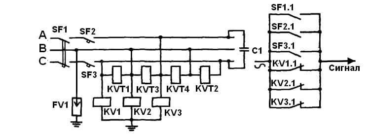 Схема ЗМН для четырех электродвигателей