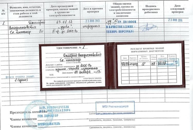 Удостоверение по группе электробезопасности и журнал проверки знаний