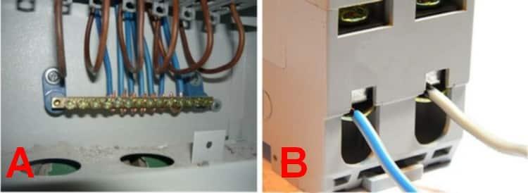 Характерные проблемные места: нулевая шина (А) и вводный автомат (В)