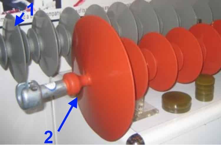 Полимерные изоляторы: 1) – обычный; 2) с защитным зонтиком