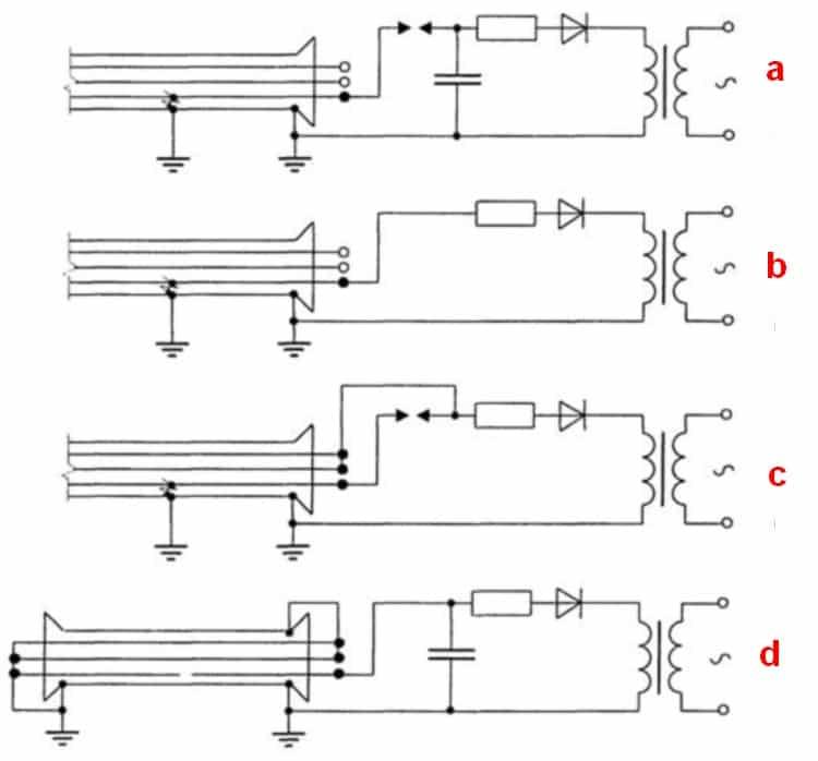 Различные схемы, применяемые при акустическом методе