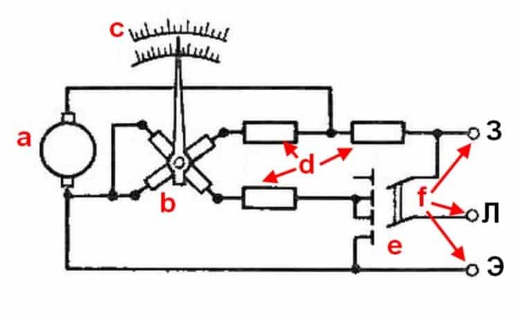 Упрощенная схема электромеханического мегаомметра