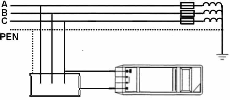 Подключение прибора в цепях с защитным заземлением