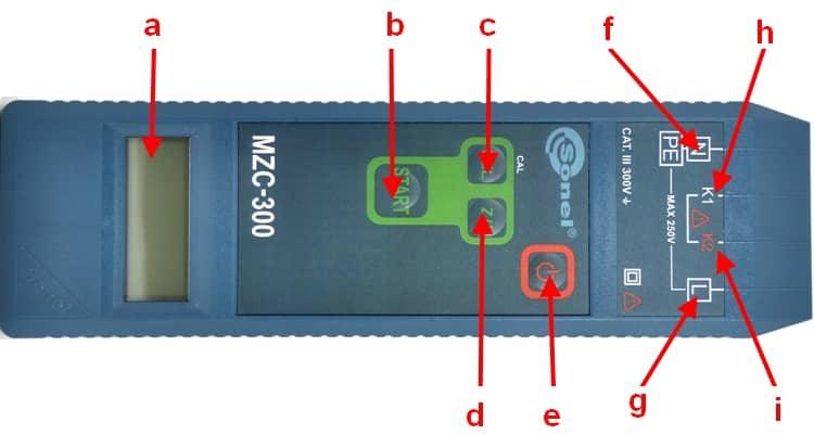Расположение основных элементов прибора MZC-300