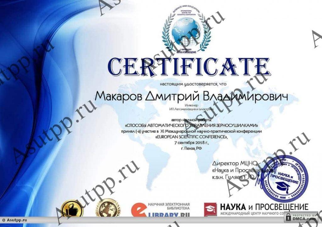Макаров Дмитрий Владимирович: сертификат участника конференции